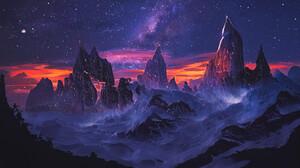 Artwork Digital Art Mountains Night Stars 1656x1024 Wallpaper