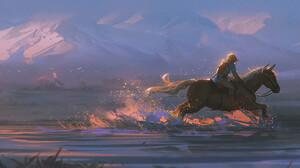 AlzzziMi ArtStation Horse Waves The Legend Of Zelda Breath Of The Wild Link 1920x864 wallpaper