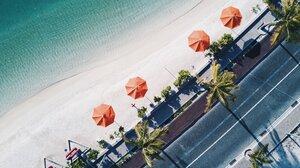 Aerial Beach Road Umbrella 3840x2160 Wallpaper