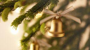 Bell Christmas Decoration Golden 2560x1600 Wallpaper
