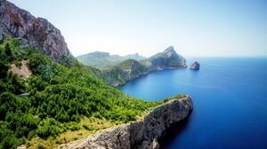 Mirador Es Colomer Spain Landscape Water Forest Trees Rocks Rocks Wall Observation Deck Mallorca Gre 3840x2400 Wallpaper