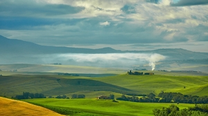 Nature Landscape Trees Tuscany Hill Italy Mist Field Grass Clouds 1920x1080 Wallpaper