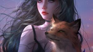 Nixeu Drawing Women Fox Girl Dark Hair Looking Away Animals Fox Wind Sky 1043x1400 wallpaper