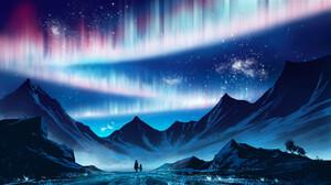 Aurora Borealis Mountain Sky 1920x1080 Wallpaper
