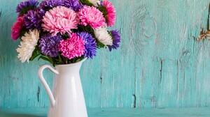 Bouquet Colorful Daisy Flower Pitcher Still Life Vase 5615x4220 Wallpaper