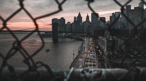 City Cityscape New York City Road Car Sea Bridge Brooklyn Bridge Scyscrapers Fence 1920x1187 Wallpaper