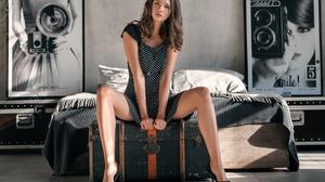 Sergei Vasiliev Model Women Brunette Wavy Hair Dark Eyes Dress Black Dress High Heels Legs Bare Shou 2560x1706 wallpaper