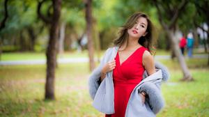 Asian Brunette Depth Of Field Girl Lipstick Model Red Dress Woman 3840x2561 Wallpaper