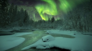 Aurora Borealis Night River Sky Snow Winter 1950x1302 Wallpaper