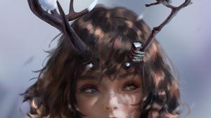 Digital Art Fantasy Girl Doctor Yusica WLOP Heterochromia Birds 1136x2000 Wallpaper