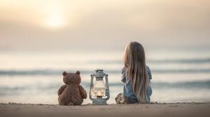 Beach Blonde Child Depth Of Field Girl Lantern Little Girl Long Hair Stuffed Animal Teddy Bear 3777x2471 Wallpaper