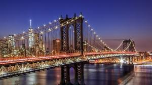 Bridge City Light Manhattan Bridge New York Night Usa 2048x1343 Wallpaper