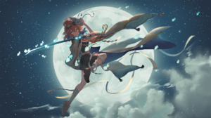 Long Hair Clouds Sword Mask Redhead Blue Eyes Skirt Moon Stars 1920x1080 wallpaper