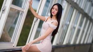 Asian Model Women Long Hair Dark Hair White Dress Window Necklace Depth Of Field Looking Below 1920x1280 Wallpaper