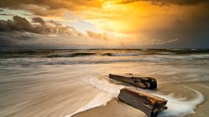 Beach Water Sand Sunset Nature Sky Clouds Log Shore Photography Outdoors Sea 2024x1350 Wallpaper