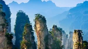 Nature Landscape Trees Rocks Mountains Mist Zhangjiajie National Park Hunan China 1920x1080 wallpaper