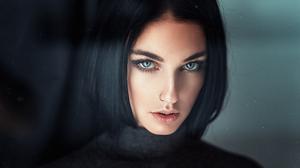 Woman Model Face Brunette Blue Eyes 1920x1080 Wallpaper