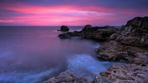 Coast Ocean Sea Bulgaria Sky Sunset Pink Horizon 4800x3215 Wallpaper