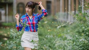 Asian Model Women Long Hair Dark Hair White Skirt Shirt Depth Of Field Bushes Ponytail 2560x1707 Wallpaper