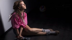 On The Floor Women Women Indoors Legs Model Dreadlocks Brunette Profile Long Hair Sitting Pink Tops  1920x1280 Wallpaper