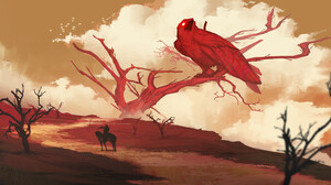 Digital Art Egor Poskryakov Fantasy Art Desert Horse Birds Crow Red Clouds Trees Dead Trees 3840x2160 Wallpaper
