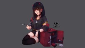 Black Hair Girl Glasses Horns Original Anime Red Eyes Shorts 3700x2104 Wallpaper
