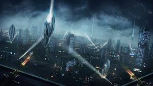 Space Invasion Night City Alien Spaceship Battle 2560x1440 wallpaper