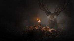 Artistic Buck Deer Fantasy Fire Giant Hunter Man Torch 1919x1057 Wallpaper