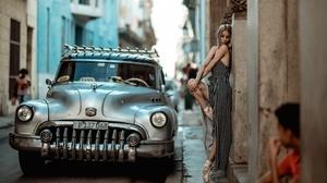 City Urban Women Street Women Outdoors Silver Cars Vehicle Women With Cars Cuba 3840x2160 Wallpaper