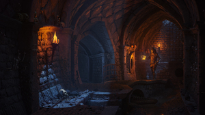 Digital Art ICephei Underground Knight Lantern Skeleton 3D Graphics 2560x1280 Wallpaper
