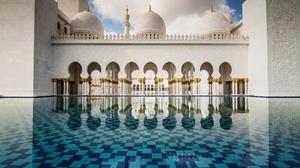 Abu Dhabi Architecture Mosque Reflection Sheikh Zayed Grand Mosque United Arab Emirates 5120x3200 wallpaper