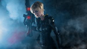 Blonde Blue Eyes Cosplay Girl Gun Sergeant Calhoun Short Hair Weapon Woman Wreck It Ralph 4368x2912 Wallpaper