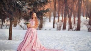 Blonde Depth Of Field Girl Long Hair Pink Dress Smile Winter Woman 2048x1366 Wallpaper