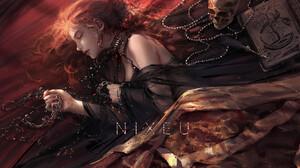 Nixeu Drawing Women Redhead Jewelry Earring Necklace Dress Black Clothing Bare Shoulders Skull Books 1500x992 wallpaper