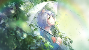 Anime Anime Girls Umbrella Rain Green Eyes Looking Away Depth Of Field Silver Hair Luo Tianyi Vocalo 5120x2880 Wallpaper