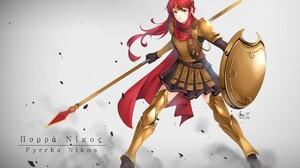 RWBY Digital Art Anime Girls Fan Art Pyrrha Nikos Long Hair Redhead Shield Spear Milo Akouo Green Ey 2807x1984 wallpaper