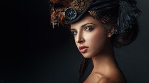 Indoors Women Model Studio Face Simple Background Looking At Viewer Portrait Makeup Steampunk Steamp 1600x900 Wallpaper