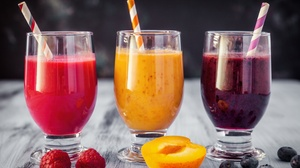 Apricot Blueberry Drink Fruit Glass Raspberry Smoothie 8000x5334 Wallpaper