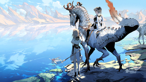 Anime Anime Girls Mountains Lake Blonde Short Hair Dragonflies Flute Sky Fantasy Art Clouds Creature 2500x1270 Wallpaper