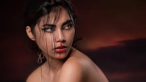 Joachim Bergauer Women Dark Hair Looking Away Makeup Eyeliner Face Paint Bare Shoulders Dark Portrai 2048x1570 Wallpaper