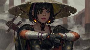 Asian Conical Hat Blue Eyes Eye Patch Girl Oriental Rain Short Hair Woman 3000x1980 Wallpaper