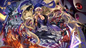 Anime Anime Girls Touhou Yakumo Yukari Cats Fox Demon NEKO Yanshoujie Dress Thigh Highs Heels Blonde 1700x1013 Wallpaper