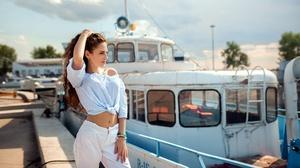 Aleksandr Suhar Model Women Brunette Dark Eyes Mouth Lips Face Long Hair Curly Hair Hips Navels Shir 3000x1688 Wallpaper