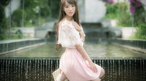 Asian Chinese Fountain Girl Jancy Wong Model Summer 2048x1365 Wallpaper