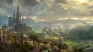 Fantasy City 3840x1761 wallpaper