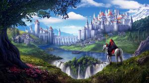 Castle Horse Landscape River Town Waterfall Wizard 2000x1120 Wallpaper
