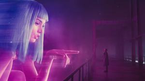 Blade Runner 2049 Officer K Hologram Bridge Blue Hair Finger Pointing Neon Glow Coats Futuristic Cyb 2864x1200 Wallpaper
