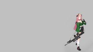 Anime Gun Pink Hair Horns Sniper Rifle Armalite Rifle Black Nails 2560x1440 Wallpaper