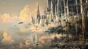 Aircraft Building City Cloud Sci Fi Sky 1920x1115 Wallpaper