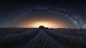 Jorge Ruiz Dueso Landscape Horizon Stars Lavender Night Field Nature Sky Milky Way 2048x1089 Wallpaper